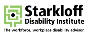 """Green labyrinth logomark next to black text that reads """"Starkloff Disability Institute, the workforce, workplace disability advisor."""""""